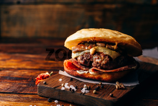 The Casanova Burger on Cutting Board