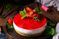 delicious cream quark pie with strawberries
