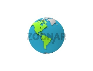 3d rendering of planet earth isolated and floating on white background
