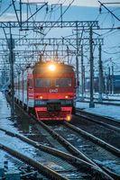 Russian train. Passenger train. . Russia Metallostroy March 8, 2019