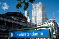Berlin, Germany, Subway station and Cafe Kranzler at Kurfuerstendamm in Charlottenburg