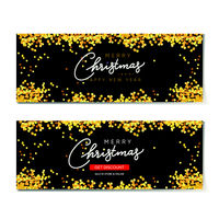 Set of horizontal backgrounds with golden glitter. Christmas banner, poster, header for web site. Black Xmas backdrop. Merry Christmas and Happy New Year handwritten text calligraphy.