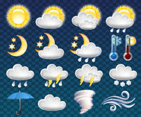 Set of different weather icons vector illustration