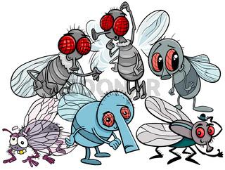 flies characters group cartoon illustration