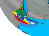 Horn of Africa with flags on 3D globe