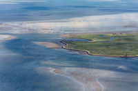 Hallig Langeness, Aerial Photo of the Schleswig-Holstein Wadden Sea National Park in Germany