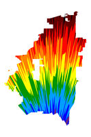 Arlington city (United States of America, USA, U.S., US, United States cities, usa city)- map is designed rainbow abstract colorful pattern, City of Arlington map made of color explosion,