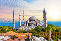 Sultan Ahmet Mosque in Istanbul, bright summer view