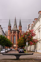 View at St. Pauls church in Schwerin, Germany at overcast day.