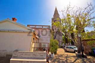 Hill town of Dobrinj on Krk island church and street view