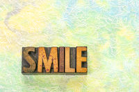 smile word in wood type