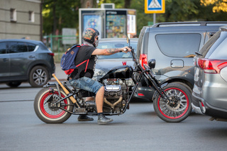 Ukraine. The city of Kharkov. September 10, 2019. Biker on a motorcycle in the city center.