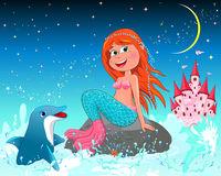 Cute joyful little mermaid and dolphin
