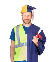 Split Screen Male Graduate In Cap and Gown to Engineer in Hard Hat Concept
