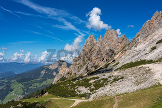 view of Sella group and Gardena pass or Grodner Joch, Dolomites, Italy