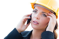 Concerned Female Contractor In Hard Hat Using Cell Phone Isolated On White