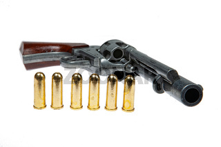Old Revolver And Cartridges