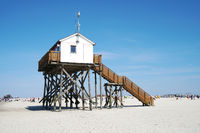 beach stilt house at German seaside resort St. Peter-Ording