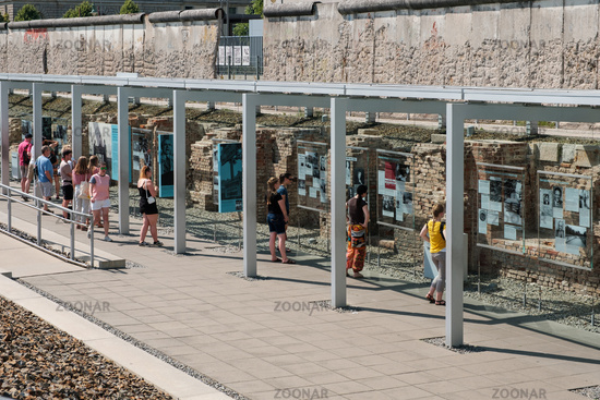 People at Historical Museum, Topography of terror,  a outdoor exhibition at the Berlin Wall in Berlin