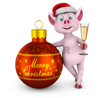 Piglet with  ball  Merry Christmas