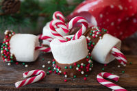 Christmas treats , marshmallows with candy canes