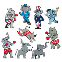 Elephant Mascot Cartoon Set