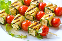 Grilled feta-zucchini-skewers