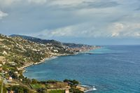 Mediterranean coastal landscape, French and Italian Riviera