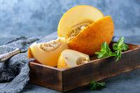 Slices of ripe yellow melon.