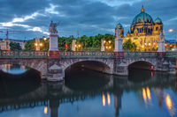 The Schlossbruecke and the cathedral in Berlin at dusk