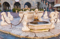 fountain in the old  square of Bergamo at Christmas