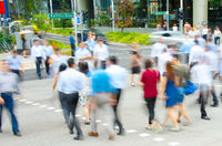 Crossing road people motion Singapore