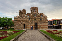 Ruins of Church of Christ Pantocrator in the old town. Early morning.