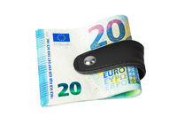 Money clip holding a bunch of euro