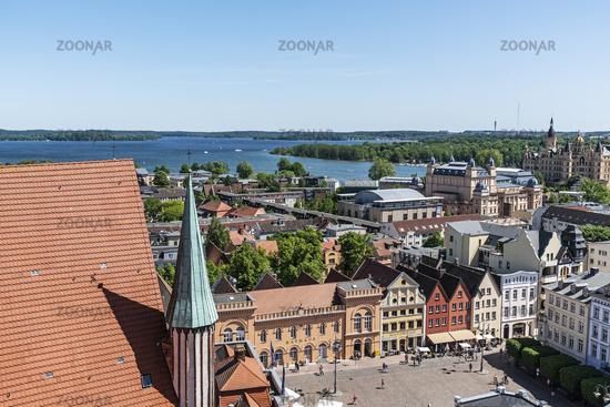 market place, Schwerin lake, city view, Schwerin, Mecklenburg-Western Pomerania, Germany, Europe