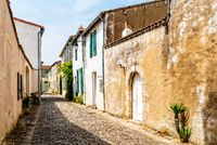 Street with old houses in Saint Martin de Re