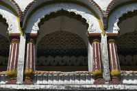 Decorated stone masonry Balcony over main Gateway at Vitthal Temple. Palashi, Parner, Ahmednagar