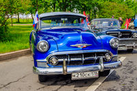 Retro exhibition of an old motor vehicle. Old transport. Russia, St. Petersburg May 25, 2019