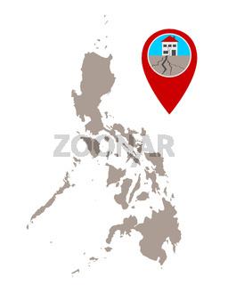 Karte der Philippinen und Pin mit Erdbebensymbol - Map of the Philippines and pin with earthquake symbol