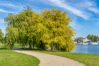 Riverside path with pastures on Lake Schwerin