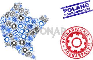 Wheel Mosaic Vector Podkarpackie Voivodeship Map and Grunge Seals