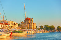Aegina town at sunset
