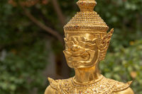 Close-up of golden Wat Phra Kaew guardian
