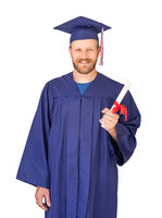 Caucasian Male With Deploma Wearing Graduation Cap and Gown Isolated