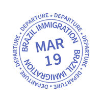 Brazil International travel visa stamp on white. Arrival sign violet rubber stamp with texture