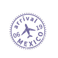 Mexico International travel visa stamp on white. Arrival sign purple rubber stamp with texture