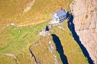 Aerial view of Klimsenkapelle chapel below Pilatus mountain peak