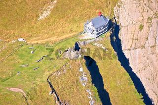 Aerial view of Klimsenkapelle chapel below Pilatus mountain peak