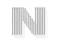 Silver, steel wire font. Letter N