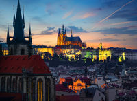 Landmarks of Prague in evening